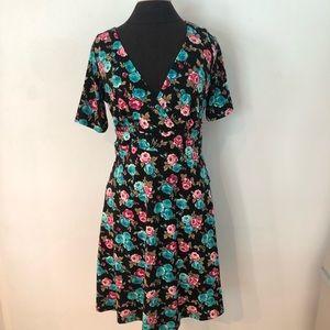 NWT Poppy & Bloom Faux Wrap Rose Print Dress L USA